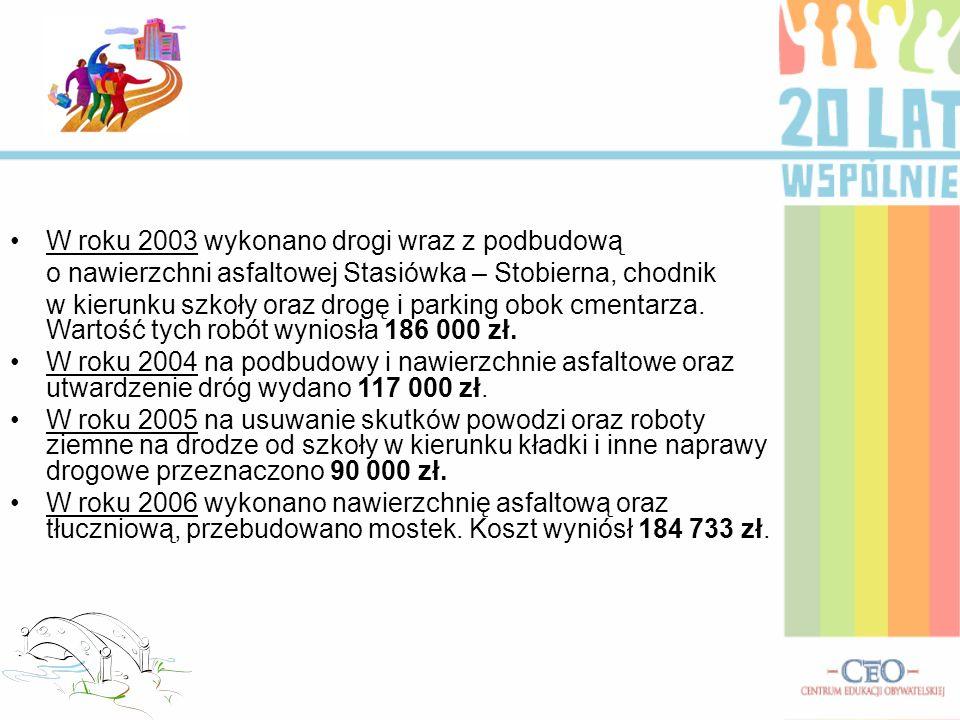 W roku 2003 wykonano drogi wraz z podbudową o nawierzchni asfaltowej Stasiówka – Stobierna, chodnik w kierunku szkoły oraz drogę i parking obok cmenta