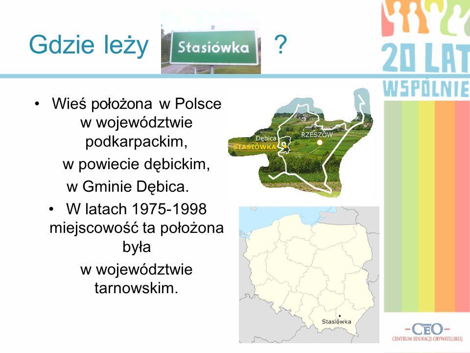 Gdzie leży ? Wieś położona w Polsce w województwie podkarpackim, w powiecie dębickim, w Gminie Dębica. W latach 1975-1998 miejscowość ta położona była