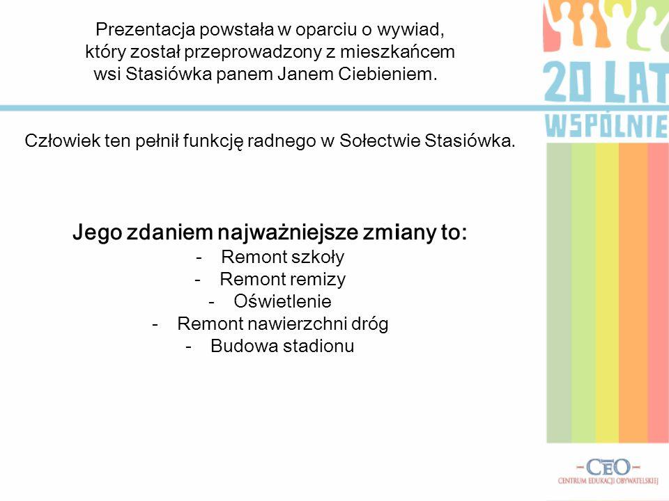 Prezentacja powstała w oparciu o wywiad, który został przeprowadzony z mieszkańcem wsi Stasiówka panem Janem Ciebieniem. Człowiek ten pełnił funkcję r