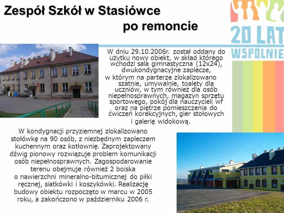 Zespół Szkół w Stasiówce po remoncie W kondygnacji przyziemnej zlokalizowano stołówkę na 90 osób, z niezbędnym zapleczem kuchennym oraz kotłownię. Zap