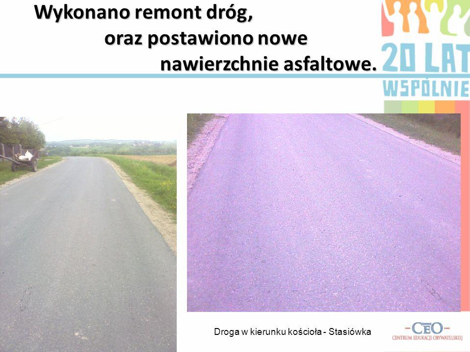 DROGI W roku 1997 wykonano drogę na trasie Nagawczyna- Stasiówka, Stasiówka do szkoły, a także parking i przystanek autobusowy.