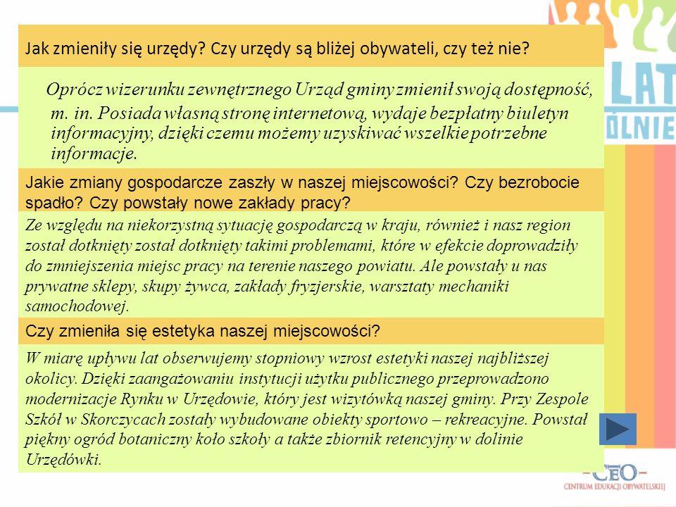 Wywiad z Panią Lidią Dec (mieszkanką Skorczyc) przeprowadził: Przemysław Dec Jakie zmiany w ciągu ostatnich 20 lat dostrzega Pani w naszej miejscowośc