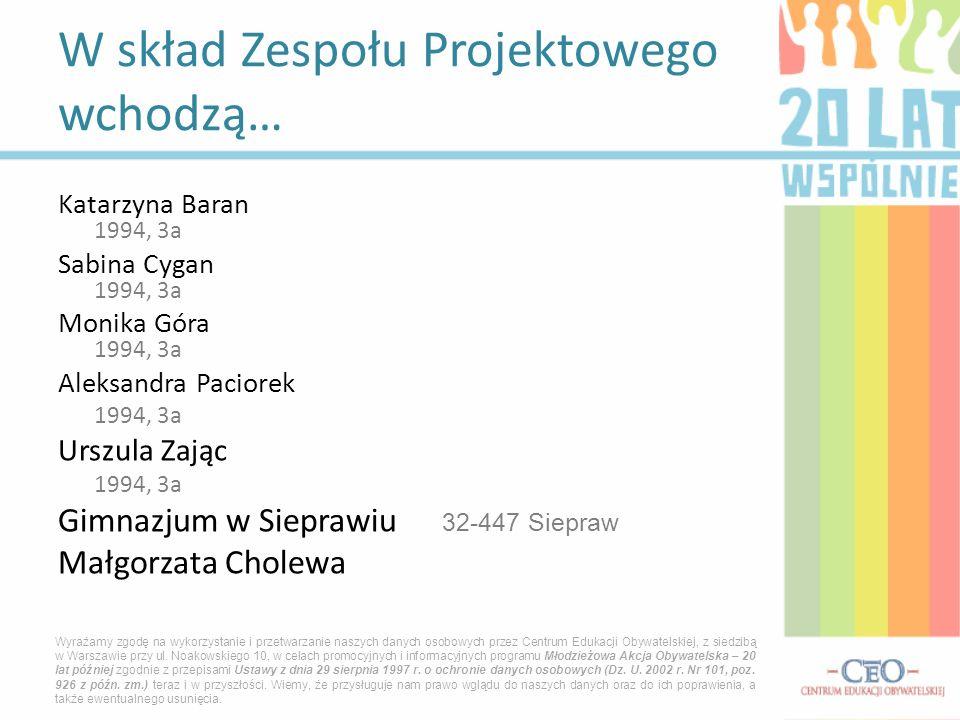 Katarzyna Baran 1994, 3a Sabina Cygan 1994, 3a Monika Góra 1994, 3a Aleksandra Paciorek 1994, 3a Urszula Zając 1994, 3a Gimnazjum w Sieprawiu 32-447 S