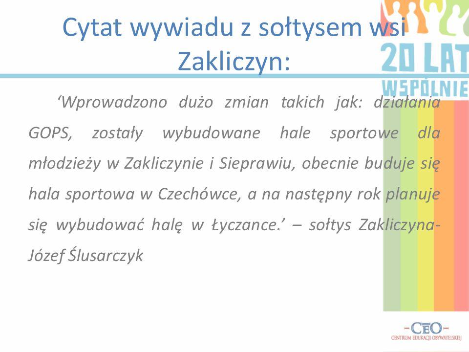 Cytat wywiadu z sołtysem wsi Zakliczyn: Wprowadzono dużo zmian takich jak: działania GOPS, zostały wybudowane hale sportowe dla młodzieży w Zakliczyni