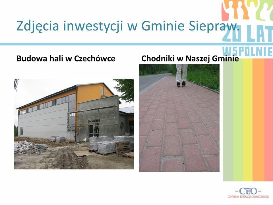 Zdjęcia inwestycji w Gminie Siepraw. Budowa hali w CzechówceChodniki w Naszej Gminie