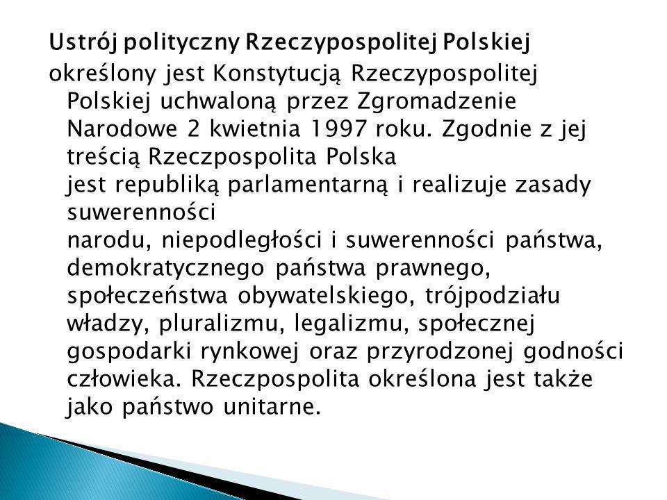 Ustrój polityczny Rzeczypospolitej Polskiej określony jest Konstytucją Rzeczypospolitej Polskiej uchwaloną przez Zgromadzenie Narodowe 2 kwietnia 1997