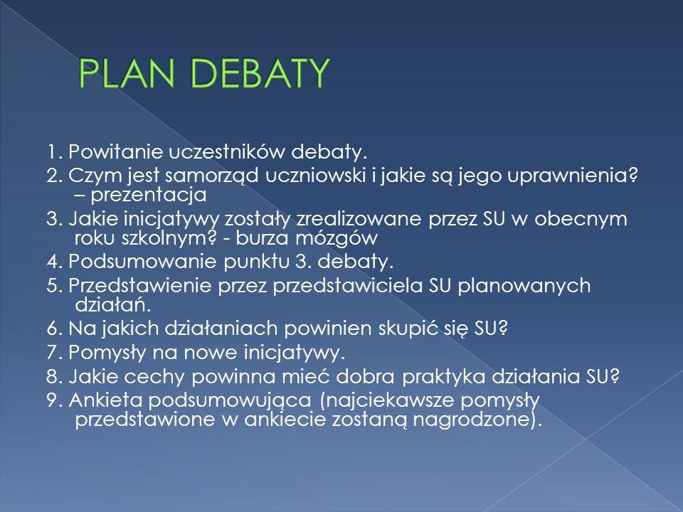 1. Powitanie uczestników debaty. 2. Czym jest samorząd uczniowski i jakie są jego uprawnienia? – prezentacja 3. Jakie inicjatywy zostały zrealizowane