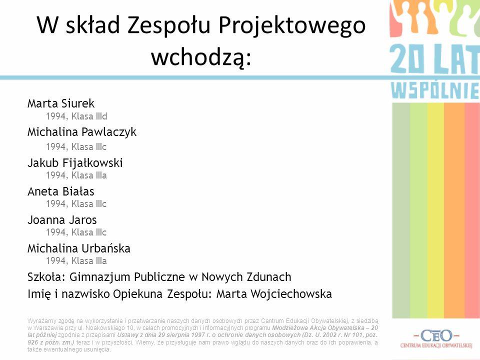 Marta Siurek 1994, Klasa IIId Michalina Pawlaczyk 1994, Klasa IIIc Jakub Fijałkowski 1994, Klasa IIIa Aneta Białas 1994, Klasa IIIc Joanna Jaros 1994,