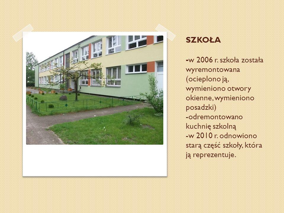SZKOŁA - w 2006 r. szkoła została wyremontowana (ocieplono ją, wymieniono otwory okienne, wymieniono posadzki) -odremontowano kuchnię szkolną -w 2010