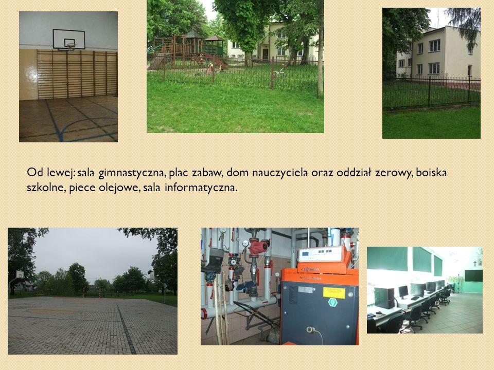 Od lewej: sala gimnastyczna, plac zabaw, dom nauczyciela oraz oddział zerowy, boiska szkolne, piece olejowe, sala informatyczna.
