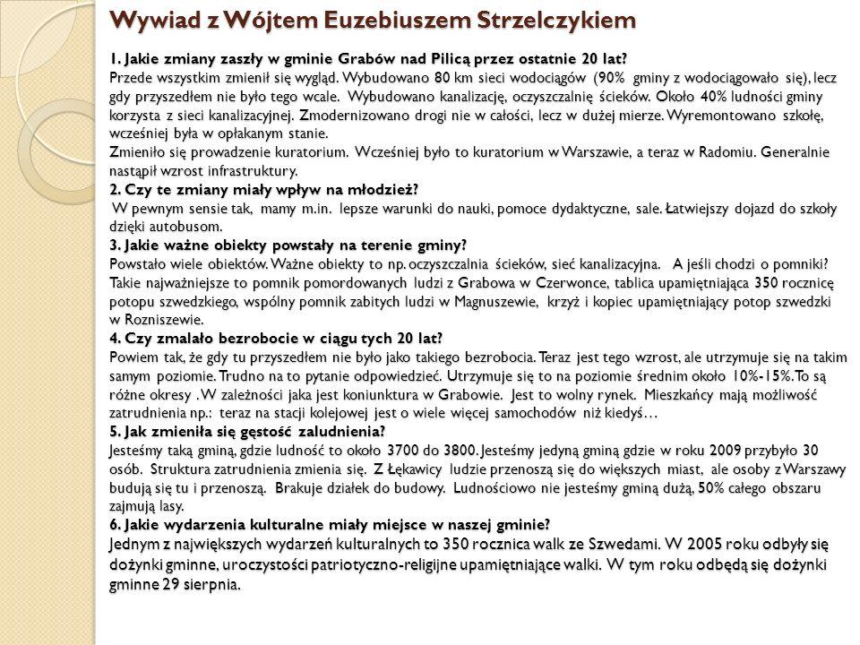 Wywiad z Wójtem Euzebiuszem Strzelczykiem 1. Jakie zmiany zaszły w gminie Grabów nad Pilicą przez ostatnie 20 lat? Przede wszystkim zmienił się wygląd