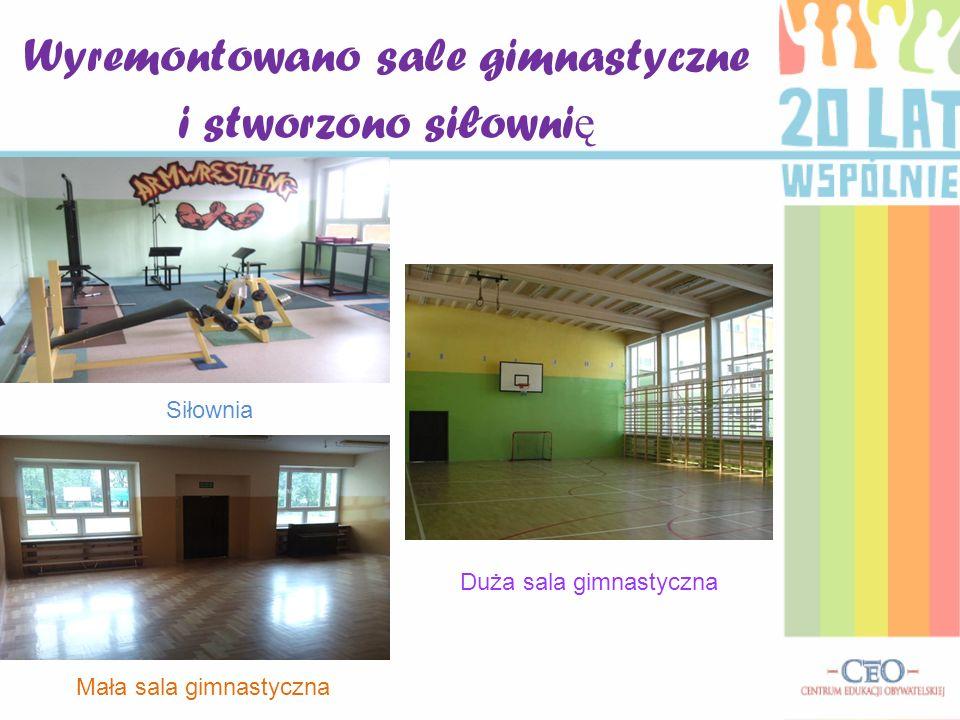 Wyremontowano sale gimnastyczne i stworzono siłowni ę Mała sala gimnastyczna Siłownia Duża sala gimnastyczna