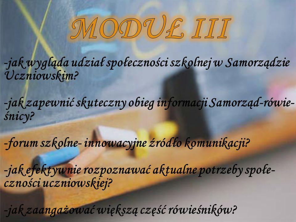 -jak wygląda udział społeczności szkolnej w Samorządzie Uczniowskim? -jak zapewnić skuteczny obieg informacji Samorząd-rówie- śnicy? -forum szkolne- i