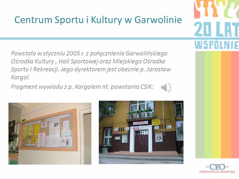 Kultura w Garwolnie na przestrzeni lat przeszła wielkie przeobrażenie – dawniej ograniczała się w zasadzie wyłącznie do biblioteki, kina (w bardzo słabo wyposażonego, pokazującego stare i mało znane filmy) oraz obiektów sportowych.