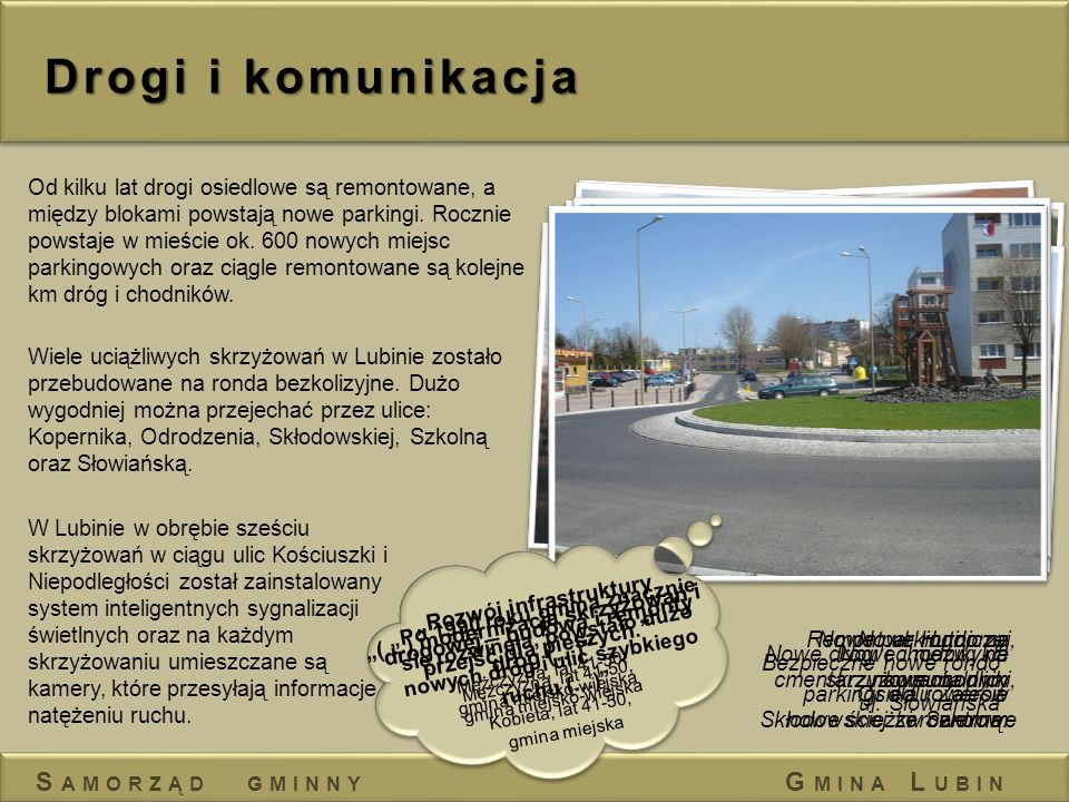 Drogi i komunikacja Od kilku lat drogi osiedlowe są remontowane, a między blokami powstają nowe parkingi. Rocznie powstaje w mieście ok. 600 nowych mi