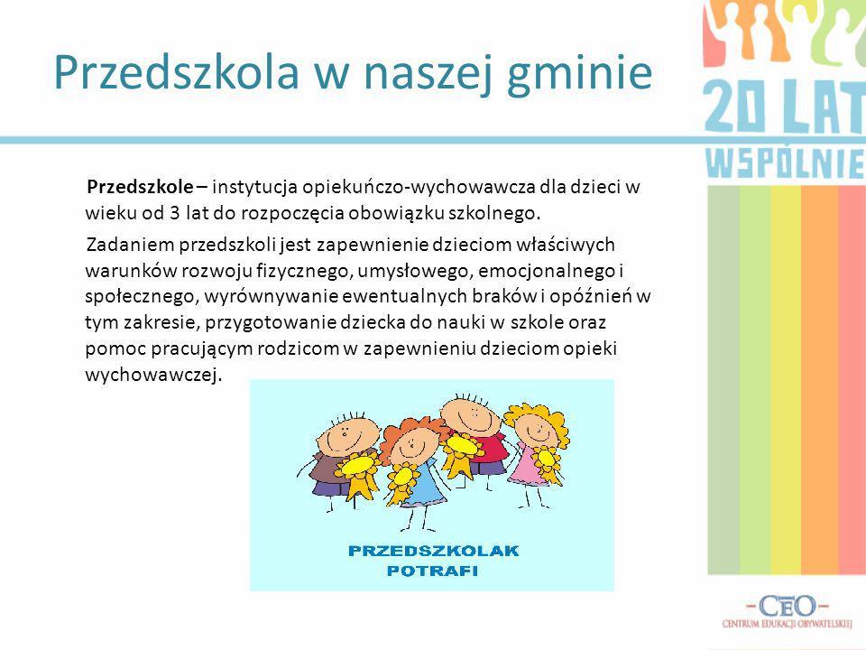 Przedszkole – instytucja opiekuńczo-wychowawcza dla dzieci w wieku od 3 lat do rozpoczęcia obowiązku szkolnego.