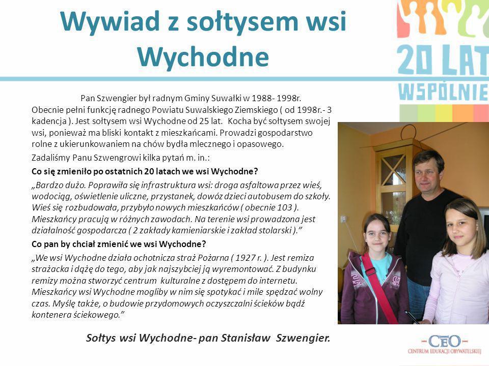 Wywiad z sołtysem wsi Wychodne Pan Szwengier był radnym Gminy Suwałki w 1988- 1998r. Obecnie pełni funkcję radnego Powiatu Suwalskiego Ziemskiego ( od