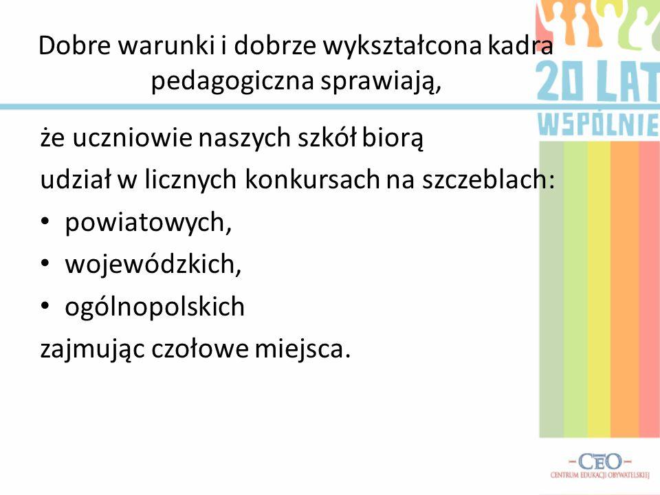 Dobre warunki i dobrze wykształcona kadra pedagogiczna sprawiają, że uczniowie naszych szkół biorą udział w licznych konkursach na szczeblach: powiato