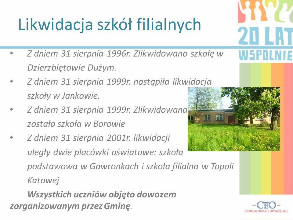 Z dniem 31 sierpnia 1996r. Zlikwidowano szkołę w Dzierzbiętowie Dużym. Z dniem 31 sierpnia 1999r. nastąpiła likwidacja szkoły w Jankowie. Z dniem 31 s