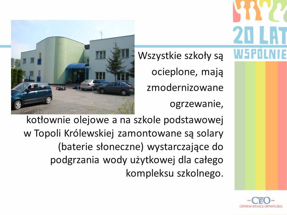 Wszystkie szkoły są ocieplone, mają zmodernizowane ogrzewanie, kotłownie olejowe a na szkole podstawowej w Topoli Królewskiej zamontowane są solary (b