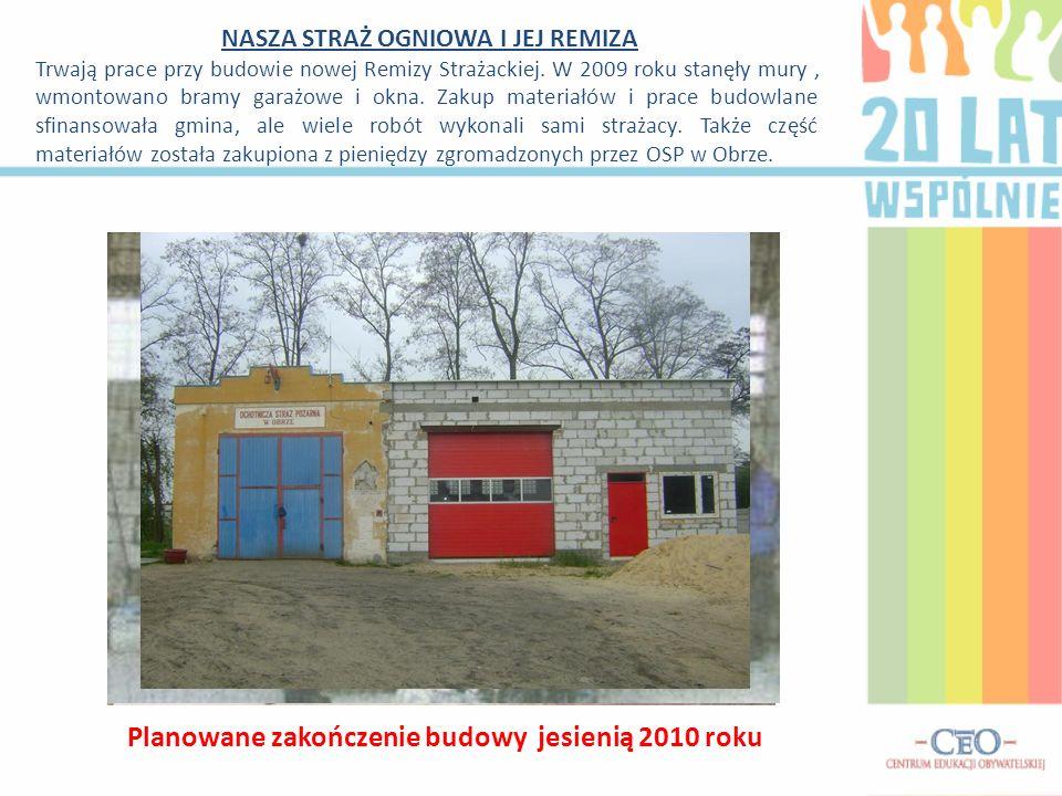 NASZA STRAŻ OGNIOWA I JEJ REMIZA Trwają prace przy budowie nowej Remizy Strażackiej. W 2009 roku stanęły mury, wmontowano bramy garażowe i okna. Zakup