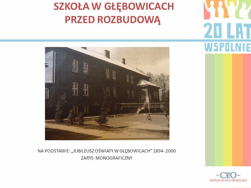 SZKOŁA W GŁĘBOWICACH PRZED ROZBUDOWĄ NA PODSTAWIE: JUBILEUSZ OŚWIATY W GŁĘBOWICACH 1894- 2000 ZARYS MONOGRAFICZNY