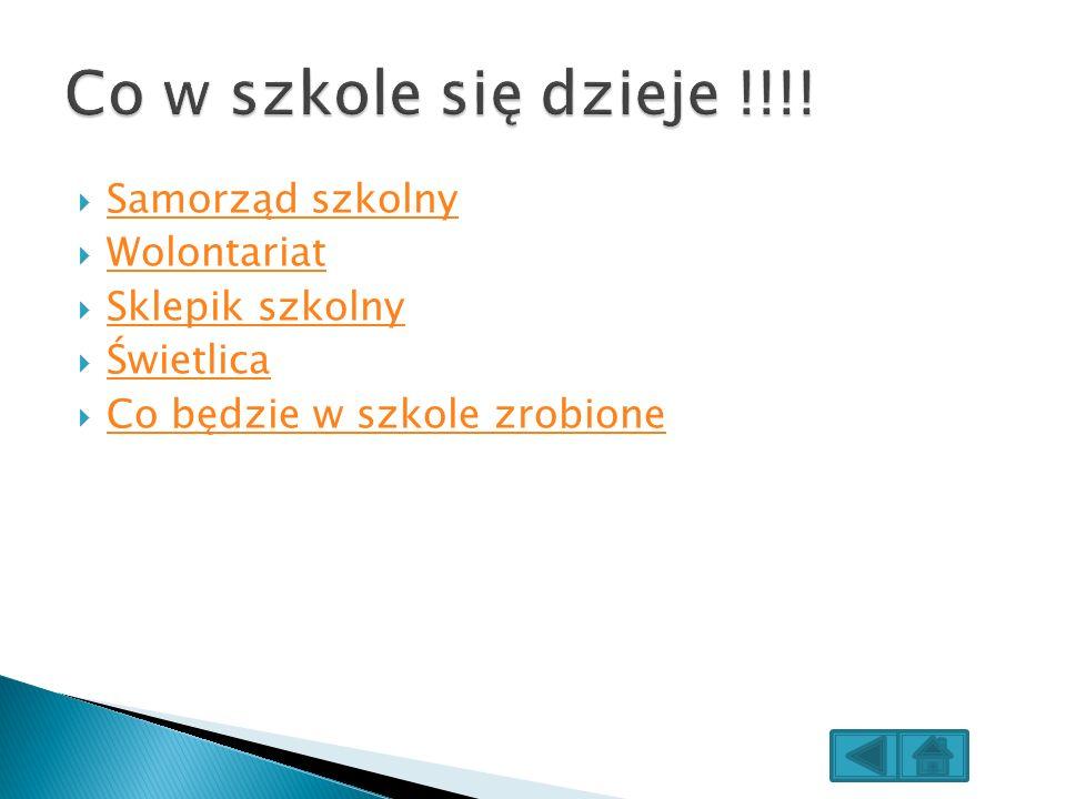 Samorząd szkolny Wolontariat Sklepik szkolny Świetlica Co będzie w szkole zrobione