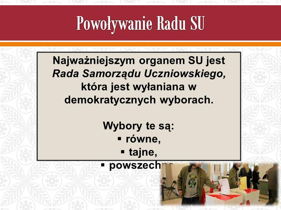 Najważniejszym organem SU jest Rada Samorządu Uczniowskiego, która jest wyłaniana w demokratycznych wyborach.