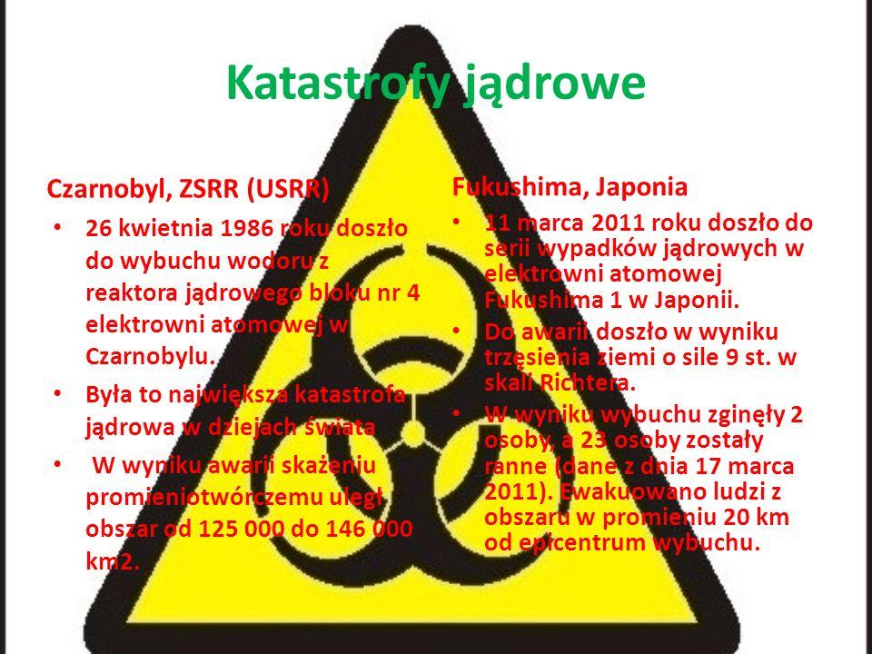 Katastrofy jądrowe Czarnobyl, ZSRR (USRR) 26 kwietnia 1986 roku doszło do wybuchu wodoru z reaktora jądrowego bloku nr 4 elektrowni atomowej w Czarnob
