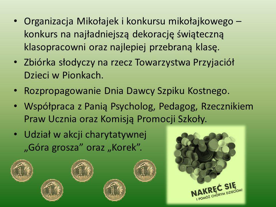 Organizacja Mikołajek i konkursu mikołajkowego – konkurs na najładniejszą dekorację świąteczną klasopracowni oraz najlepiej przebraną klasę.