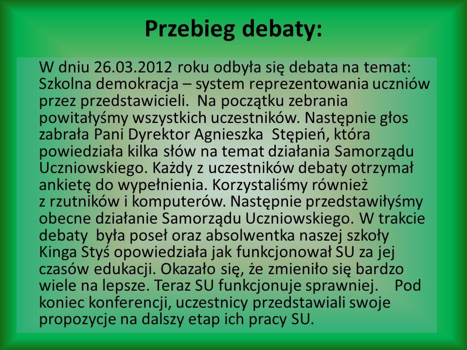 Przebieg debaty: W dniu 26.03.2012 roku odbyła się debata na temat: Szkolna demokracja – system reprezentowania uczniów przez przedstawicieli. Na pocz