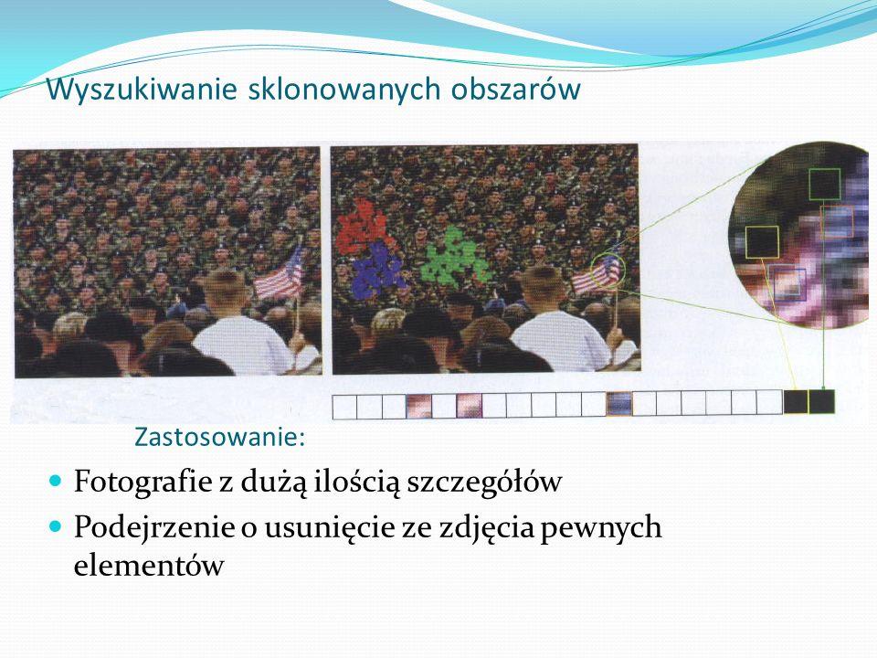 Zastosowanie: Fotografie z dużą ilością szczegółów Podejrzenie o usunięcie ze zdjęcia pewnych elementów Wyszukiwanie sklonowanych obszarów