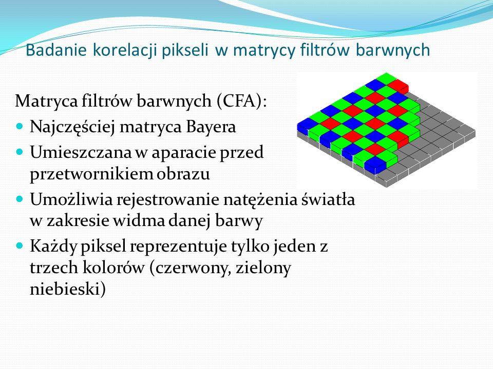 Demozaikowanie: Aby dostać pełny obraz, matryca rozdzielana jest na trzy macierze (po jednej dla każdego koloru), a brakujące wartości uzupełniane przez procesor aparatu Uzupełnianie polega na interpolacji sąsiednich pól (różne algorytmy) Jeśli znany jest model aparatu, można przeprowadzić symulację, polegającą na porównaniu korelacji między sąsiadującymi pikselami podejrzanego obrazu, a korelacjami charakterystycznymi dla aparatu Jeśli na jakimś obszarze korelacje wyraźnie się różnią, najprawdopodobniej w tym miejscu nastąpiła manipulacja Badanie korelacji pikseli w matrycy filtrów barwnych Zastosowanie: Metoda uniwersalna Działa tylko dla oryginalnego obrazu (odbitka wykazuje inne korelacje, a każda modyfikacja np.