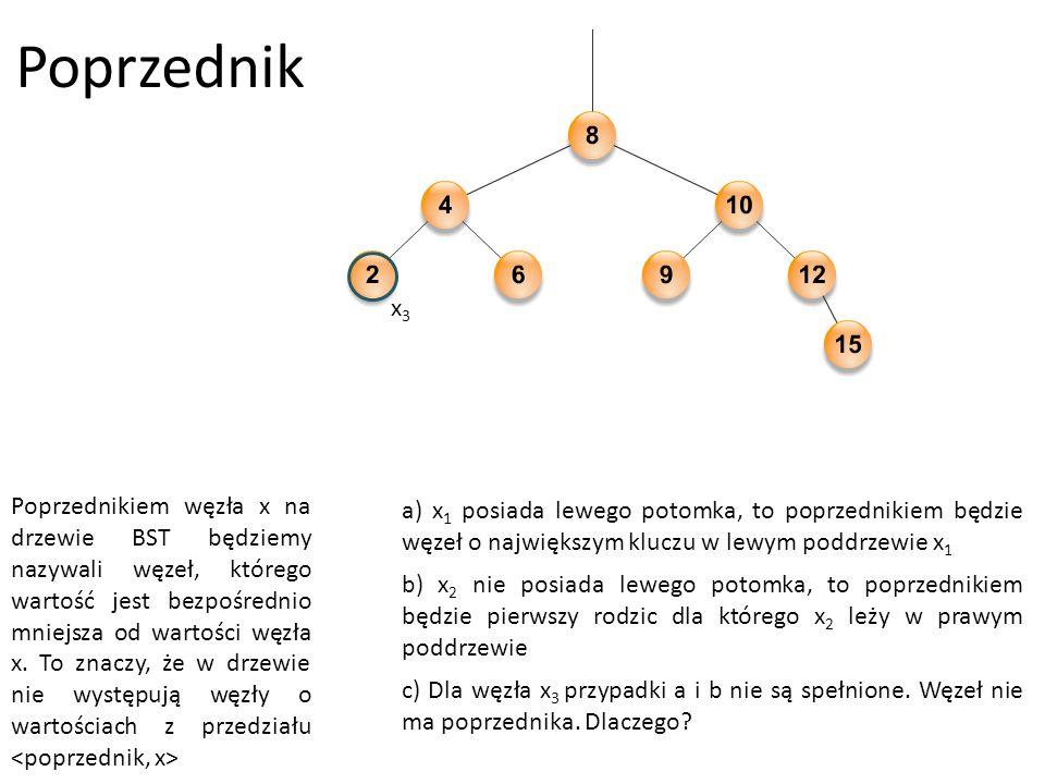 Poprzednik Poprzednikiem węzła x na drzewie BST będziemy nazywali węzeł, którego wartość jest bezpośrednio mniejsza od wartości węzła x.