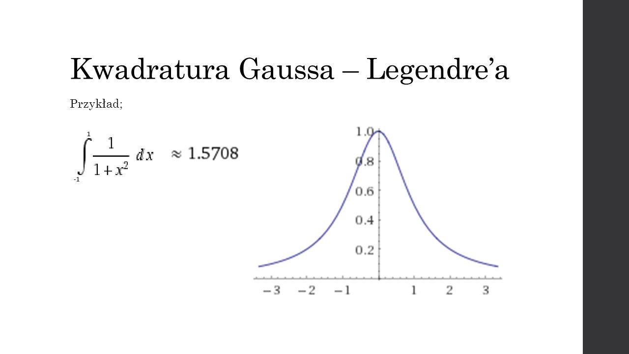 Kwadratura Gaussa – Legendrea Przykład;