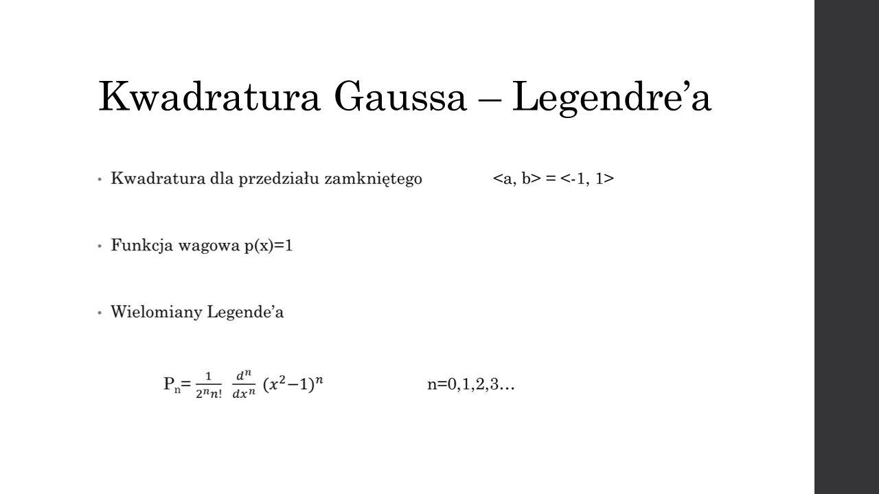 Wielomiany Legendre`a zależność rekurencyjna ortogonalność z wagą p(x)=1 na przedziale (a,b)=[-1,1]