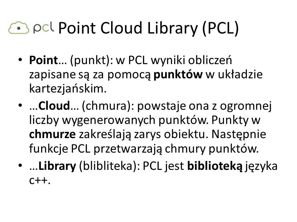 Point Cloud Library (PCL) Point… (punkt): w PCL wyniki obliczeń zapisane są za pomocą punktów w układzie kartezjańskim. …Cloud… (chmura): powstaje ona