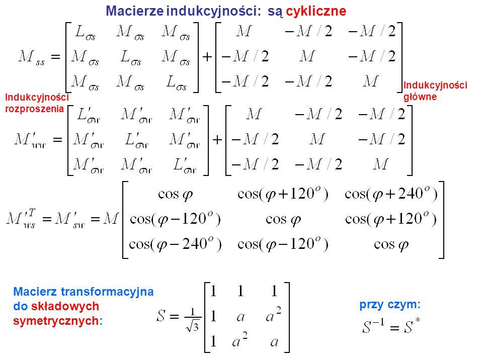 Macierze indukcyjności: są cykliczne Macierz transformacyjna do składowych symetrycznych: przy czym: Indukcyjności rozproszenia Indukcyjności główne