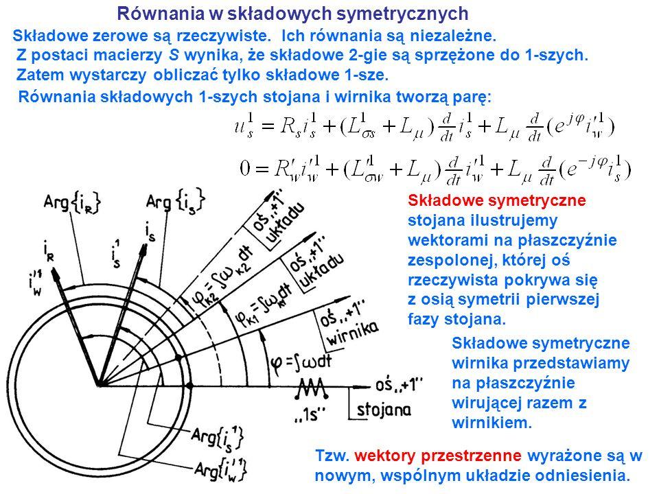 Równania z wektorami przestrzennymi Składowe symetryczne 1-sze wyrazimy poprzez tzw.