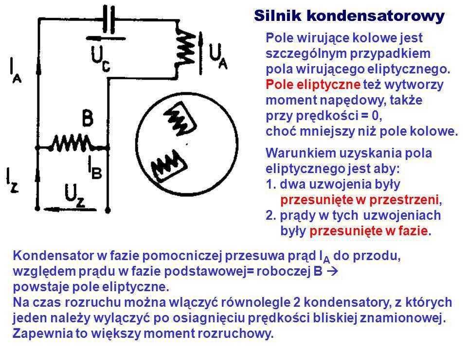 Silnik kondensatorowy Pole wirujące kolowe jest szczególnym przypadkiem pola wirującego eliptycznego. Pole eliptyczne też wytworzy moment napędowy, ta