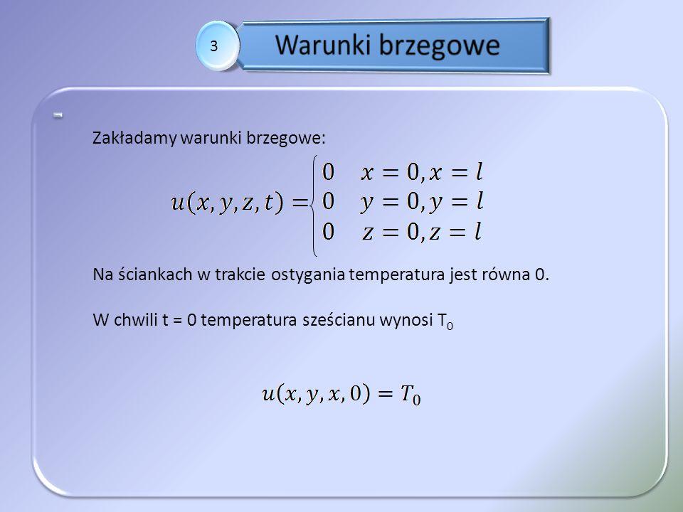 3 Zakładamy warunki brzegowe: Na ściankach w trakcie ostygania temperatura jest równa 0. W chwili t = 0 temperatura sześcianu wynosi T 0