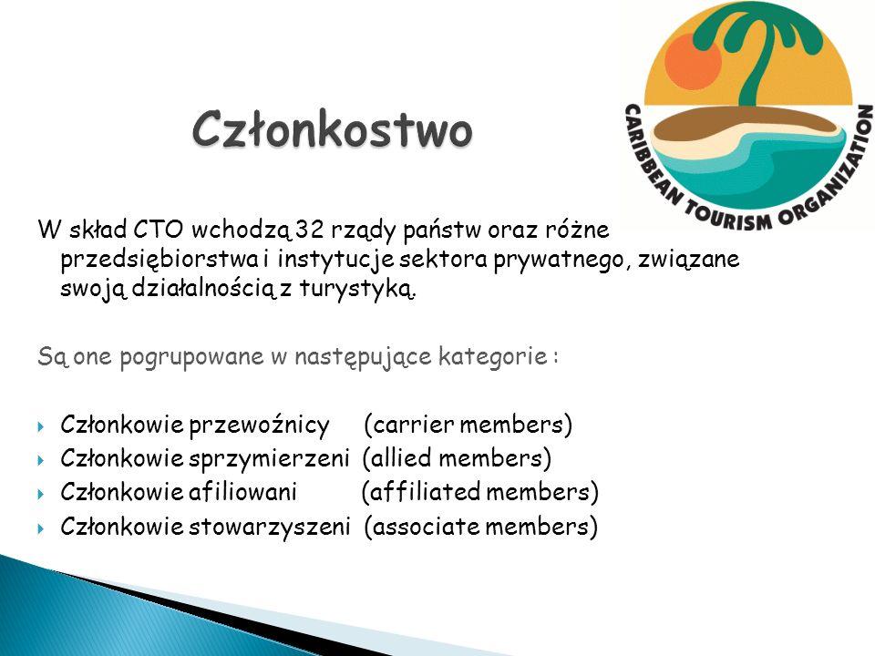 W skład CTO wchodzą 32 rządy państw oraz różne przedsiębiorstwa i instytucje sektora prywatnego, związane swoją działalnością z turystyką. Są one pogr