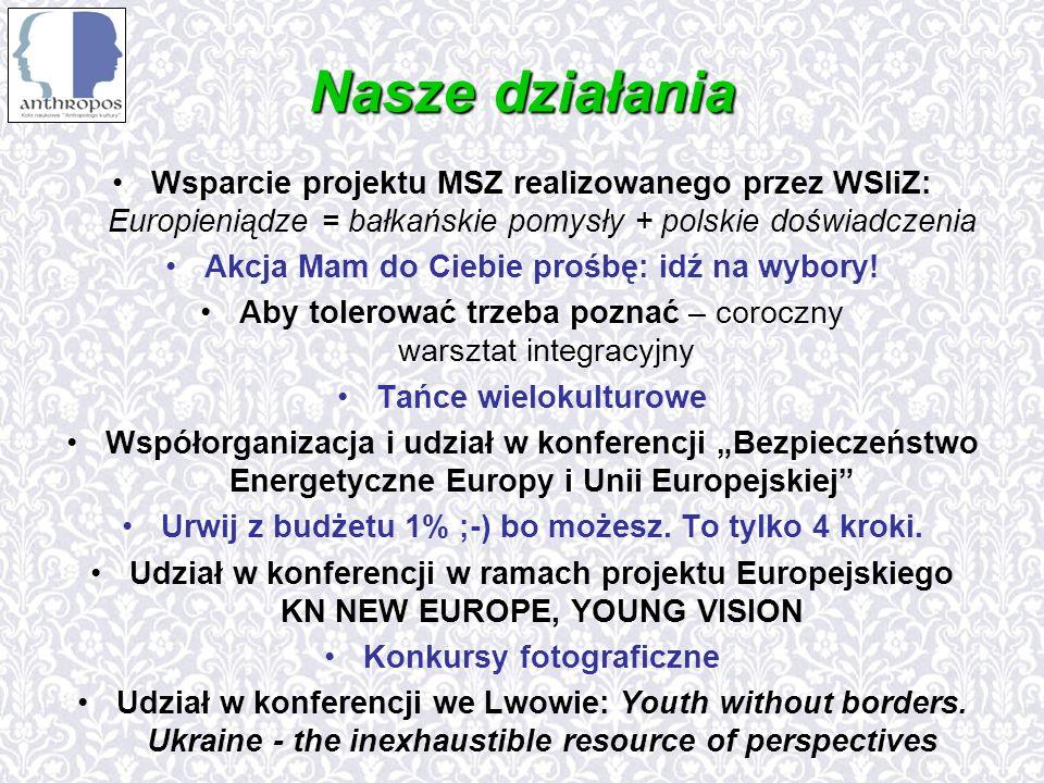 Nasze działania Wsparcie projektu MSZ realizowanego przez WSIiZ: Europieniądze = bałkańskie pomysły + polskie doświadczenia Akcja Mam do Ciebie prośbę: idź na wybory.