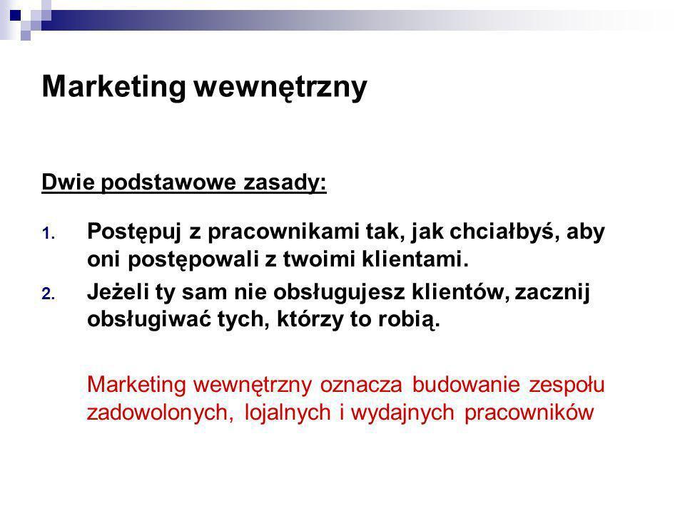 Marketing wewnętrzny Dwie podstawowe zasady: 1. Postępuj z pracownikami tak, jak chciałbyś, aby oni postępowali z twoimi klientami. 2. Jeżeli ty sam n