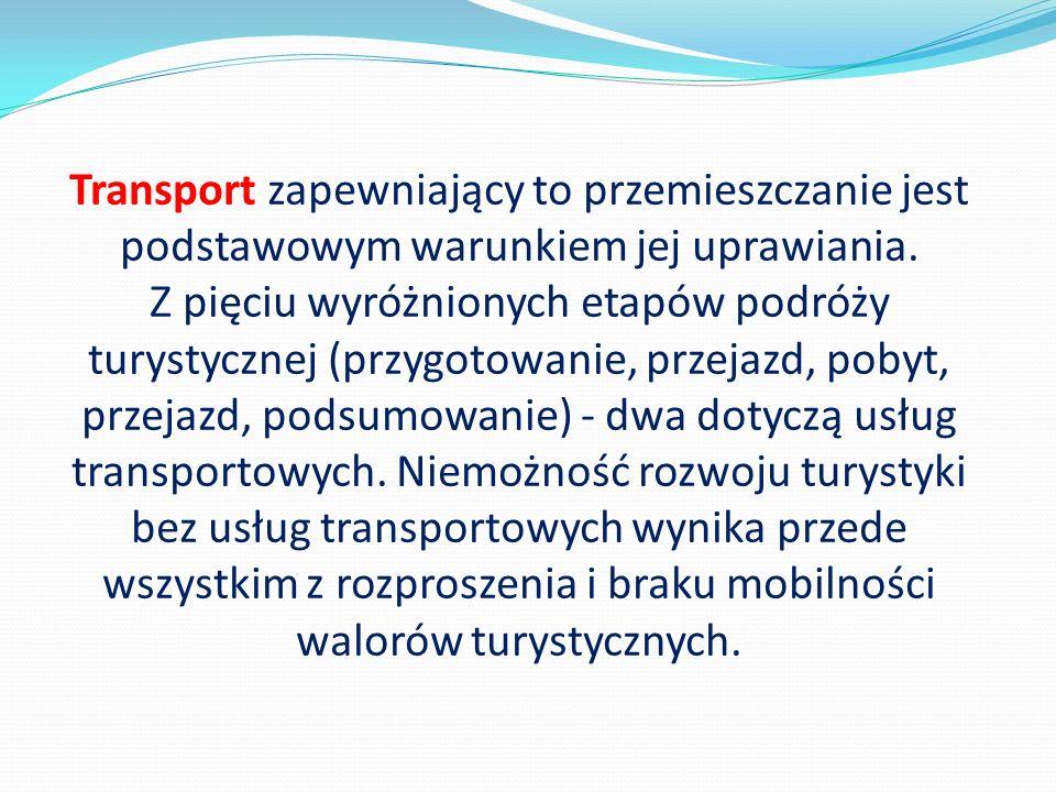 Transport zapewniający to przemieszczanie jest podstawowym warunkiem jej uprawiania. Z pięciu wyróżnionych etapów podróży turystycznej (przygotowanie,