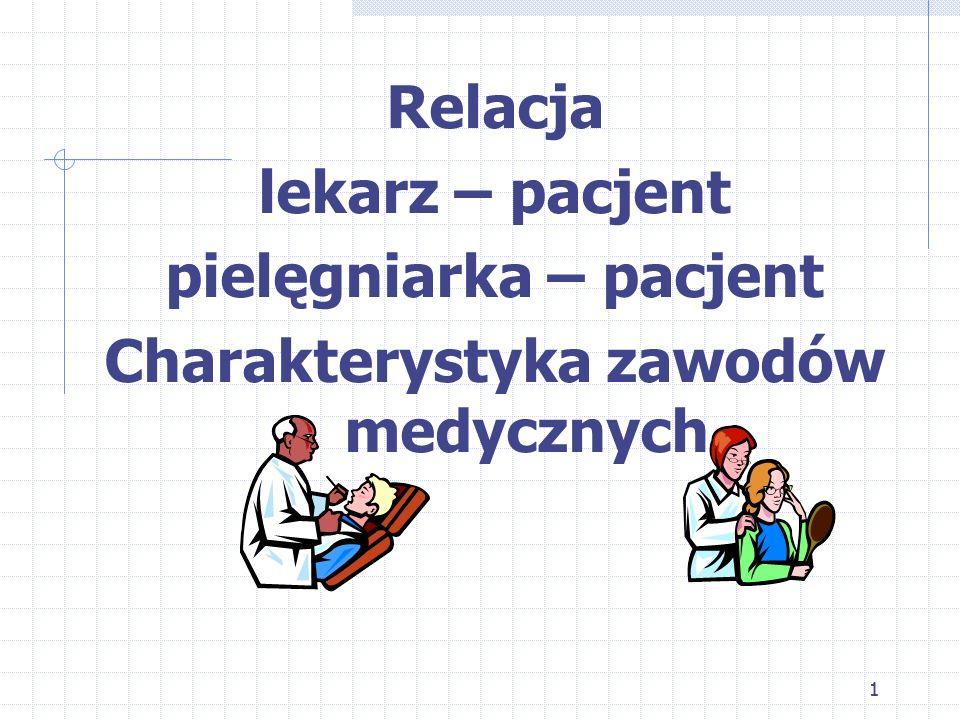 11 Relacja lekarz – pacjent pielęgniarka – pacjent Charakterystyka zawodów medycznych