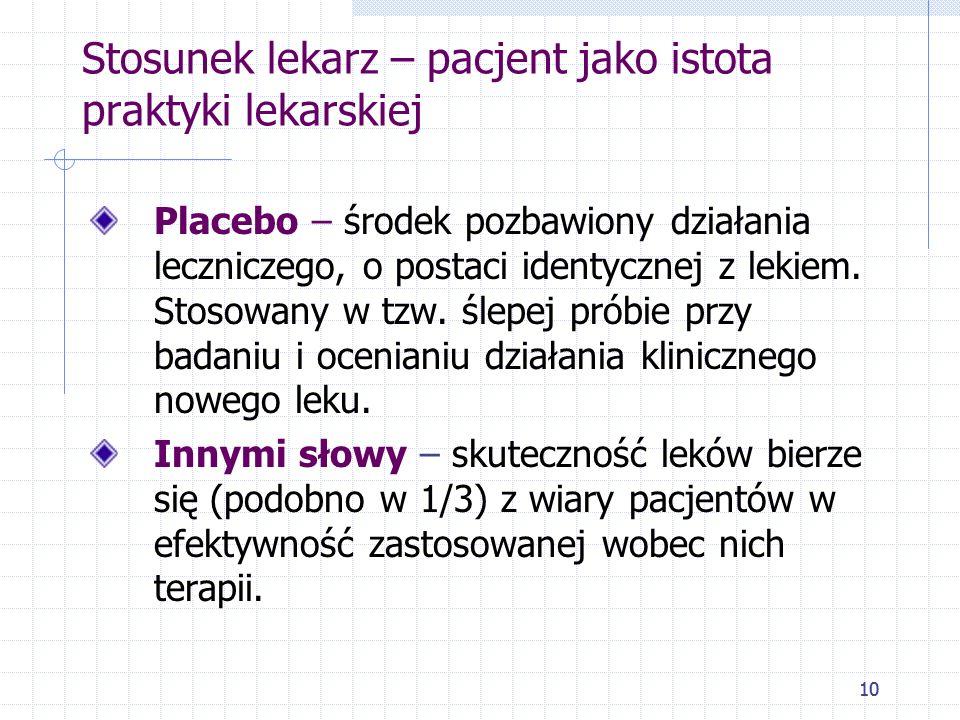 10 Stosunek lekarz – pacjent jako istota praktyki lekarskiej Placebo – środek pozbawiony działania leczniczego, o postaci identycznej z lekiem. Stosow