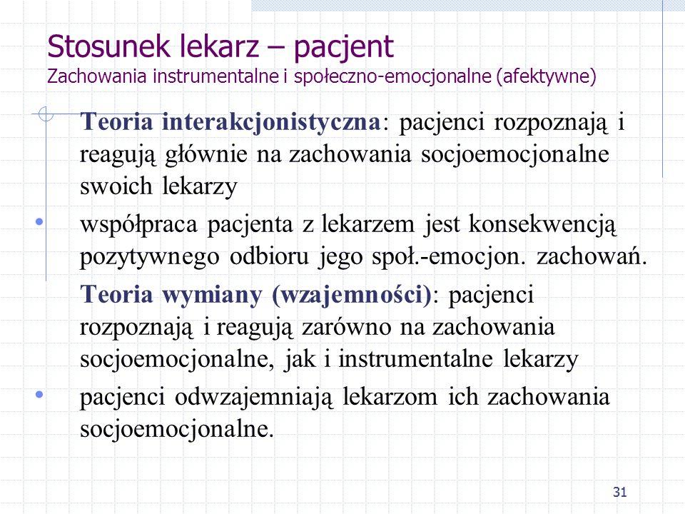 31 Stosunek lekarz – pacjent Zachowania instrumentalne i społeczno-emocjonalne (afektywne) Teoria interakcjonistyczna: pacjenci rozpoznają i reagują g