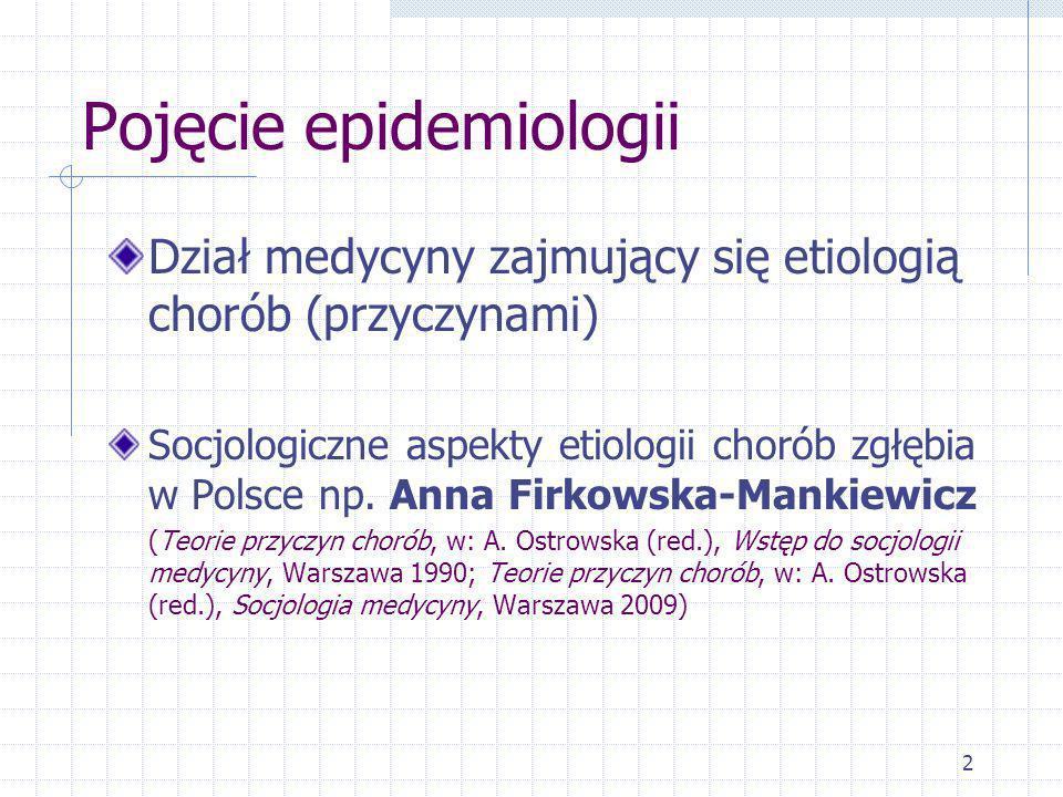 2 Pojęcie epidemiologii Dział medycyny zajmujący się etiologią chorób (przyczynami) Socjologiczne aspekty etiologii chorób zgłębia w Polsce np. Anna F
