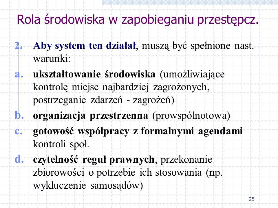 24 Rola środowiska w zapobieganiu przestępczości (reakcja/kontrola nieformalna) 1. Aktywizacja obywateli zasadza się na założeniu, że nieformalna kont